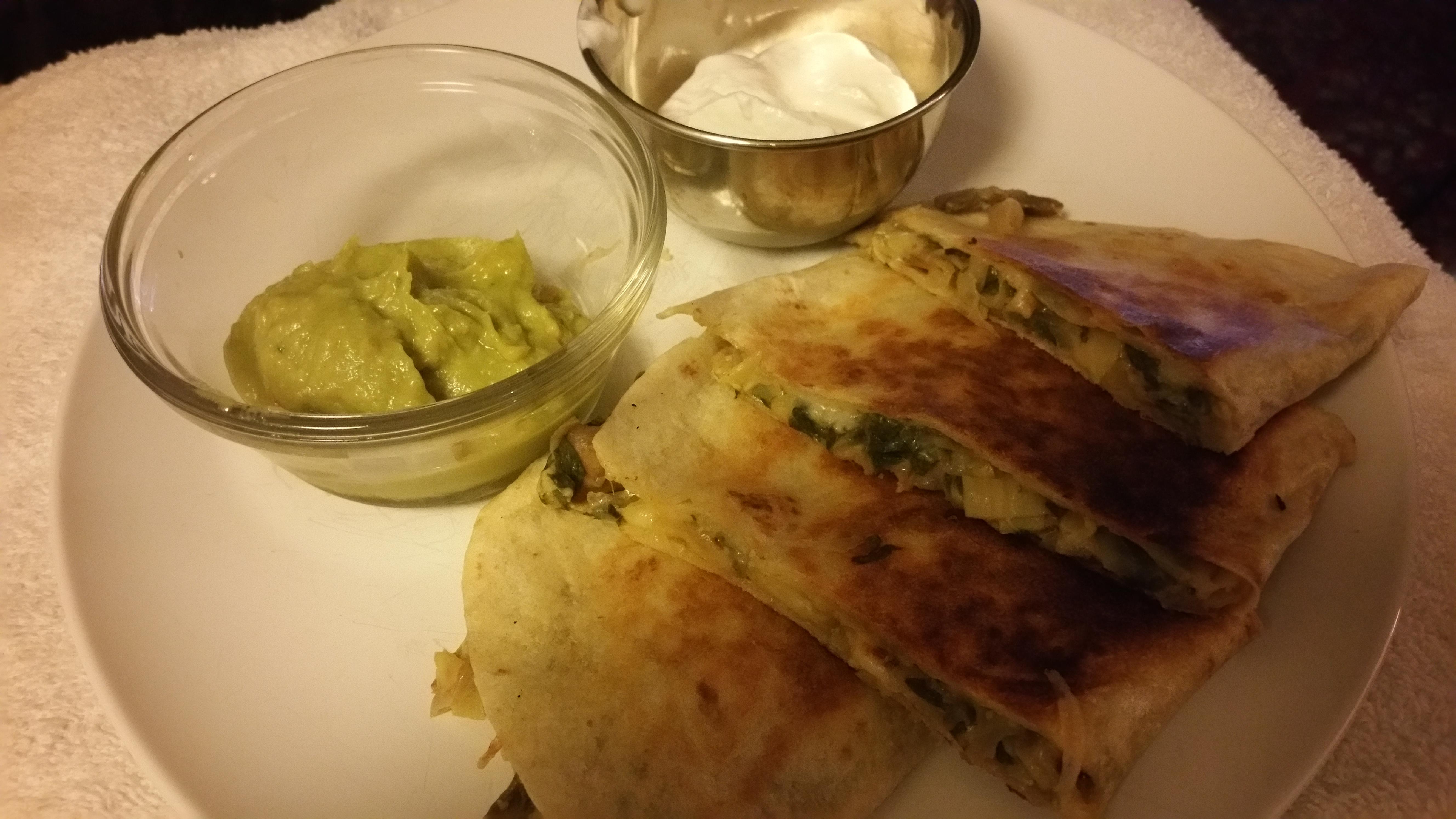 Mushroom Spinach & Smoked Gouda Quesadillas